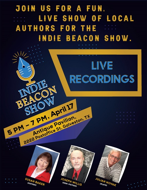 Join us for a live recording of the Indie Beacon ShowSpotlighting Galveston Authors